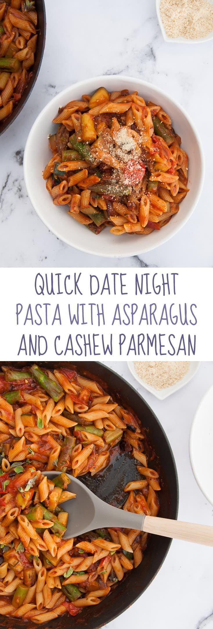 Quick Date Night Pasta with Asparagus and Cashew Parmesan via @elephantasticv
