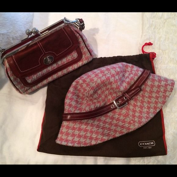 Authentic Coach bag & matching Coach hat Matching authentic Coach hat & purse. Maroon & pink houndstooth combo. Classic look perfect for fall. Willing to sell separate if interested. Coach Bags