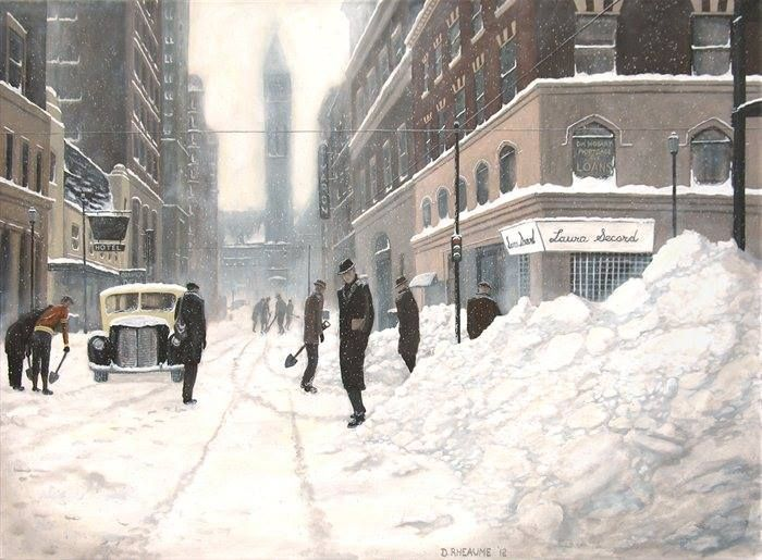 "In light of the weather today in Toronto, I thought I'd share this painting of similar weather that walloped the city back in 1944. It's titled ""Blizzard on Bay 1944""."