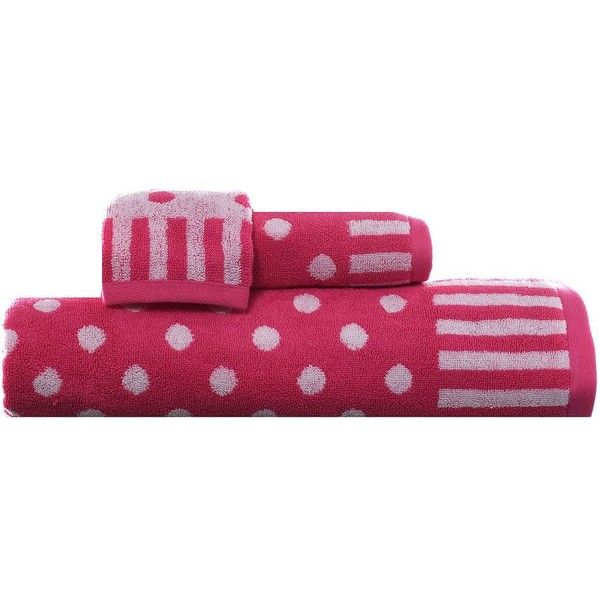 Teen Vogue On the Dot 3-pc. Bath Towel Set, Brt Pink ($28) ❤ liked on Polyvore featuring home, bed & bath, bath, bath towels, brt pink, jacquard bath towels, 3 piece towel set, pink bath towels, pink hand towels and polka dot hand towels