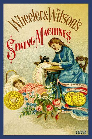 Wheeler and Wilson Sewing Machines 1878. Quilt Block printed on cotton. Ready to sew. Single 4x6 block $4.95. Set of 4 - 4x6 quilt blocks with wall hanging pattern $17.95.