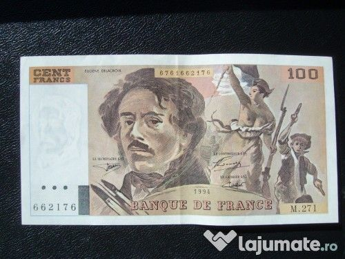 Bancnotă 100 franci circulată (Franța, seria 963457)