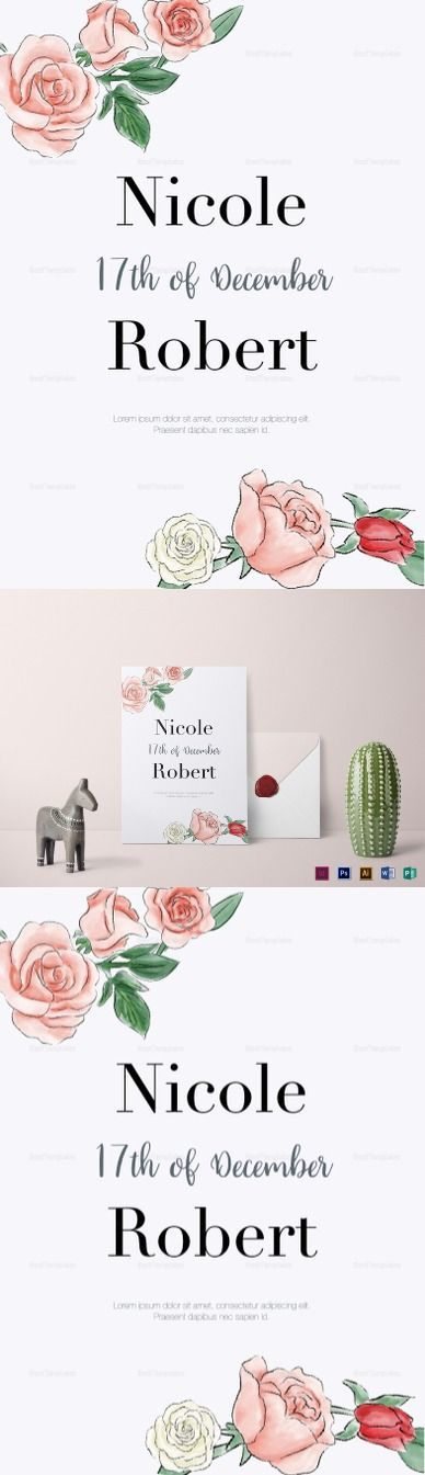 Floral Wedding Invitation Template - $12  Formats Included :Illustrator, InDesign, MS Word, Photoshop, Publisher