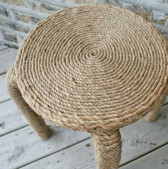 Before & After: Rope Wrapped Bar Stools | Apartment Therapy. Could use this on other things