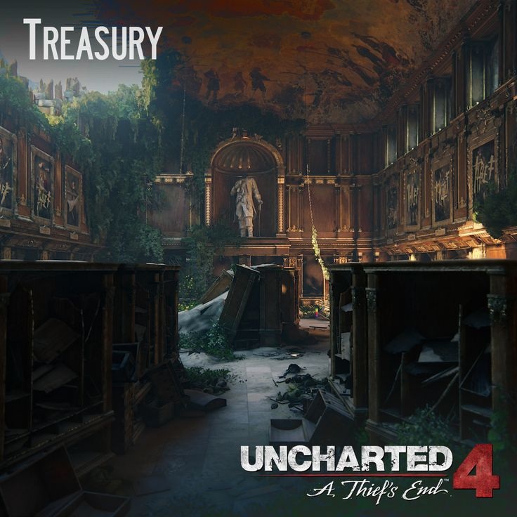 Uncharted 4 - Treasury, Andres Rodriguez on ArtStation at https://www.artstation.com/artwork/vZk4D