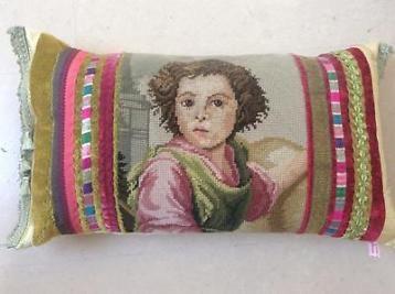kussenhoes, vintage geborduurde afbeelding, zijde