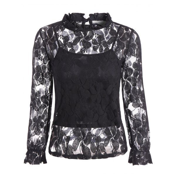 Sheer Lace Openwork Blouse With Cami Top