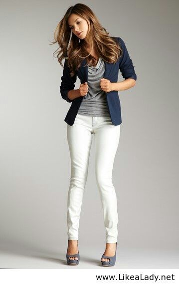 Office style with white pants- cute blazer