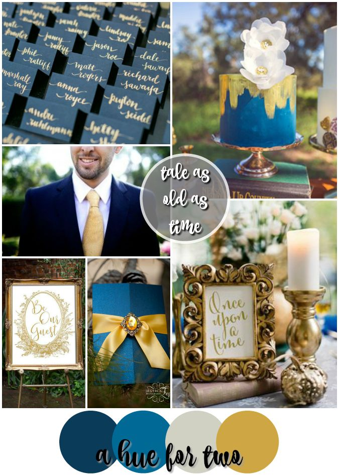 Tale As Old As Time: A Blue and Gold Beauty and the Beast Themed Wedding - Disney Wedding Colour Schemes - A Hue For Two | www.ahuefortwo.com