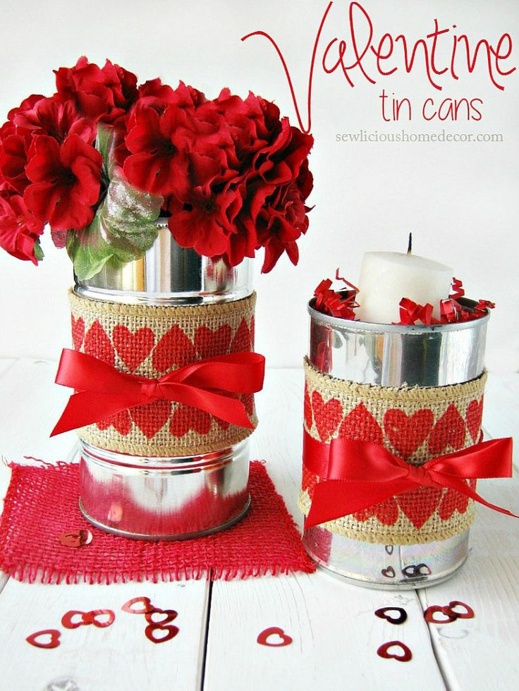 Recycle tin cans for beautiful table centerpieces or treat containers! Simply wrap burlap or scrap fabric around them, then add a ribbon, flowers or a candle for any occasion.