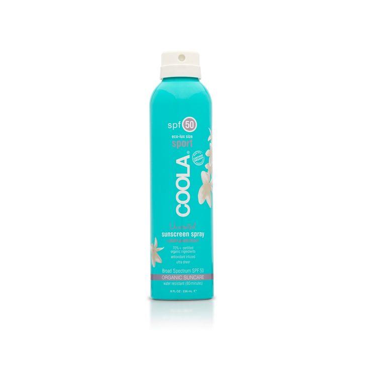 #Coola #Sport Continuous #Spray #Unscented SPF 50 #Travel size e' la #protezione #solare spray del momento, trasparente, inodore e di immediato assorbimento. Assicura un'efficacia per i filtri #UVA e #UVB ad ampio spettro. Composta dal 70% di #ingredienti #biologici certificati come il #Cetriolo, le #Alghe e l'estratto di #Frutti Rossi, e' ricca di #Omega-3 e 6 e garantisce un' #abbronzatura intensa e sicura. Facile applicazione; 70% ingredienti biologici certificati