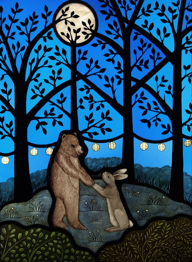Bear & Rabbit in the Woods. Contemporary stained glass panel by Flora Jamieson. Commissioned for a wedding present.