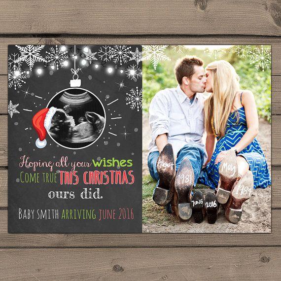 Printable Christmas pregnancy announcement door Anietillustration