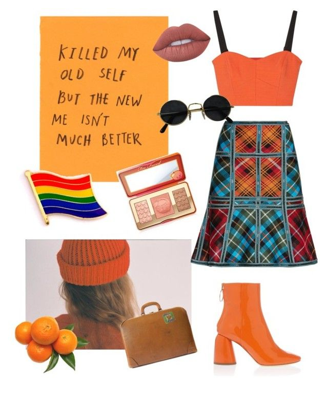 """Orange"" by alklncirem on Polyvore featuring moda, Hervé Léger, Milly, E L L E R Y, Too Faced Cosmetics, Lime Crime, FOSSIL ve vintage"