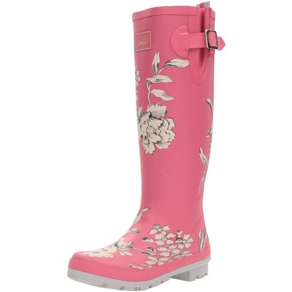 Joules Women's Welly Print Rain Boot (€23) ❤ liked on Polyvore featuring shoes, boots, patterned rain boots, faux-fur boots, synthetic shoes, joules boots and wellies rubber boots