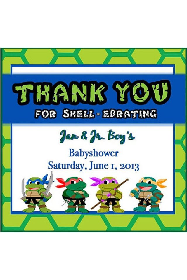 baby shower ninja turtle thank you cards more shower ninja baby shower