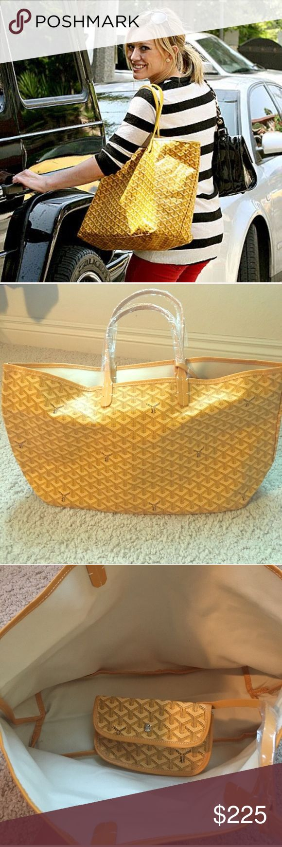 St. Louis GM Yellow Tote  Brand new never worn! Selling for a friend. Great for the beach, a diaper bag, or just because! Measurements are shown in last picture. Please let me know if you have any questions and I will try my best to answer them  Please don't be afraid to make an offer, ALL reasonable offers accepted  Goyard Bags Totes