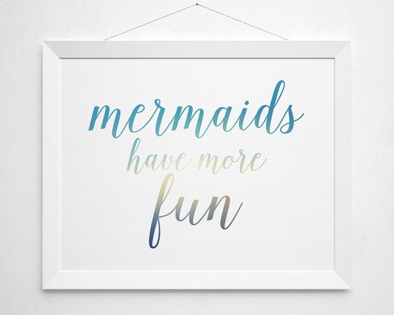 Mermaids have more fun Printable modern minimal by BokehEverAfter - Instant Download beach beachy surf teen girls surfer girl bedroom decor clean sea ocean white aqua turqoise