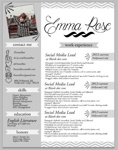 the emma rose resume design