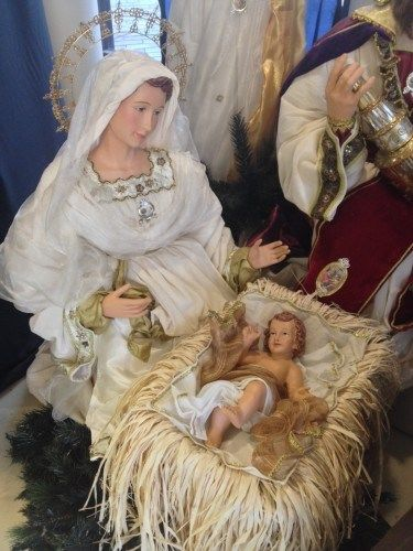 Mary looking a lot better than I did just after childbirth. This nativity set is life-size.