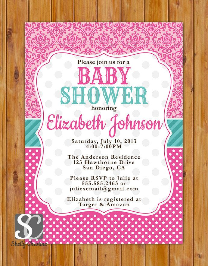 29 best baby shower theme pink teal images on pinterest baby pink teal baby shower invitation damask polka dots invite pink its a girl baby shower invitation 5x7 digital jpg file 36 filmwisefo Gallery