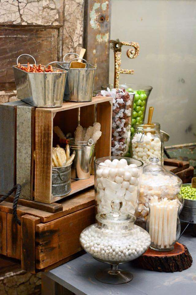 Candy Bar At A Rustic Wedding Party! See More Party Ideas At  CatchMyParty.com