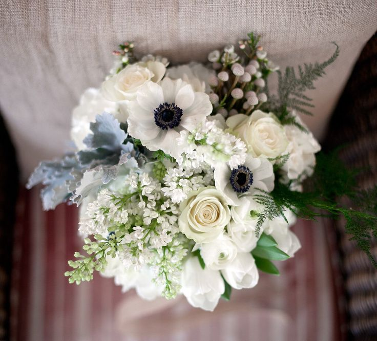 Lovely & hopeful of Spring - bouquet for a February Cambridge Mill Wedding. All white flowers never tire us - so beautiful & classic !