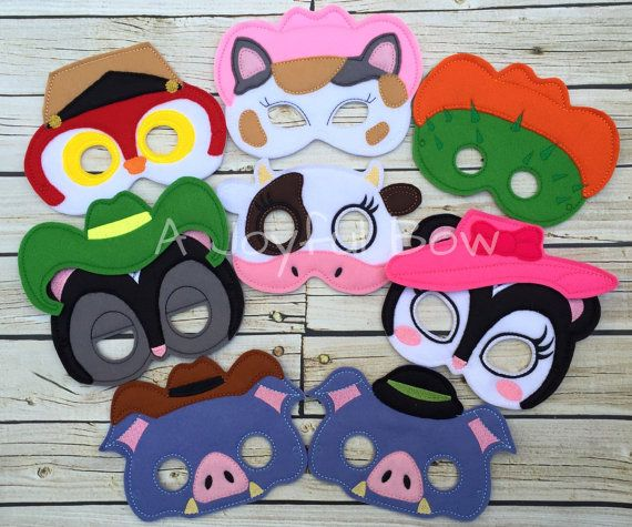 Sheriff Cat and friends dress up and birthday party favor masks, Callie costume…