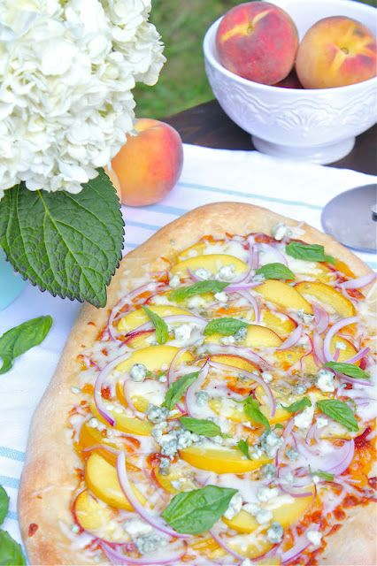 ValSoCal: Peach Pizza with Basil and Blue Cheese