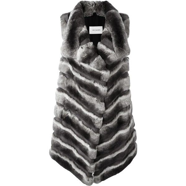 Yves Salomon fur gillet (2,264 CAD) ❤ liked on Polyvore featuring outerwear, vests, grey, gray fur vest, grey fur vest, yves salomon, yves salomon vest and grey vest