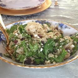 Kale and Quinoa Salad Allrecipes.com     I made a few changes to the original recipe. I cooked the quinoa in chicken broth, used spicy brown mustard and added balsamic vinegar, salt and pepper to taste to the dressing. I also let the salad chill for a few hours.