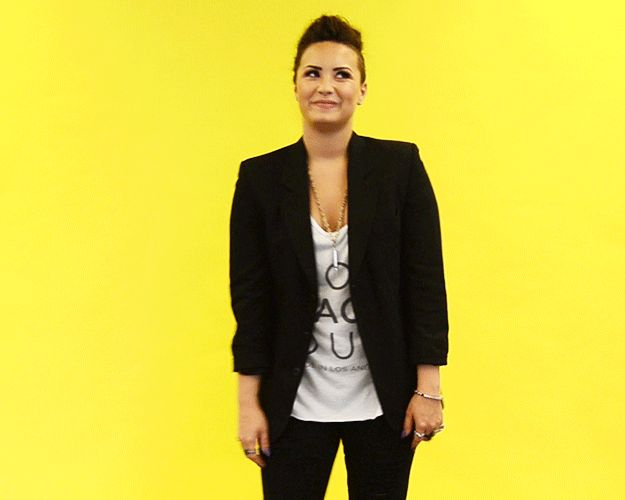 Someone lets out a little toot in the elevator. | 14 Insanely Specific Demi Lovato Reaction GIFs