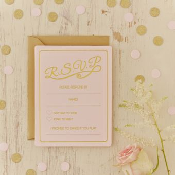 <p>Ensure you know which guests will be at your big day with these stunning pastel pink and gold foiled wedding RSVP cards.</p><p>These invitations have room for you and your guests to fill out all information required for the big day:
