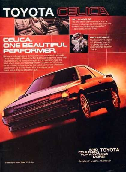 Toyota Celica GT-S (1987), I need these adverts as posters or something.
