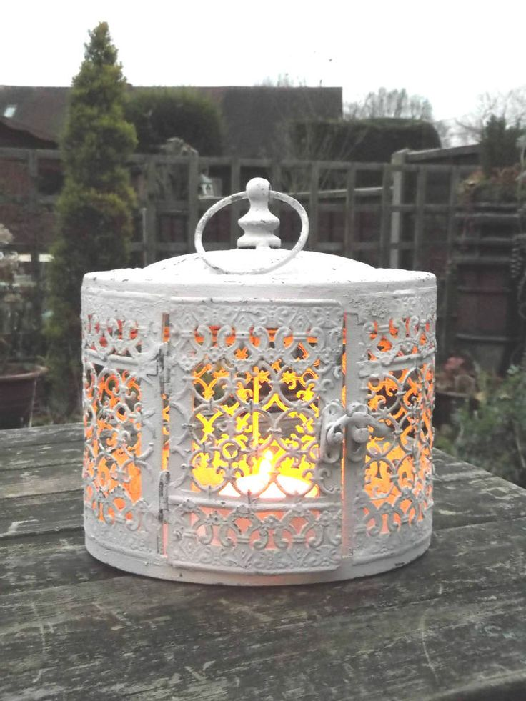 A fabulous Ornate Rustic Antique Style Moorish Lantern which look really impressive when lit as the lattice work around the body of the lanterns creates a wonderful pattern. It is Oval in shape and finished in an Antique White colour. | eBay!