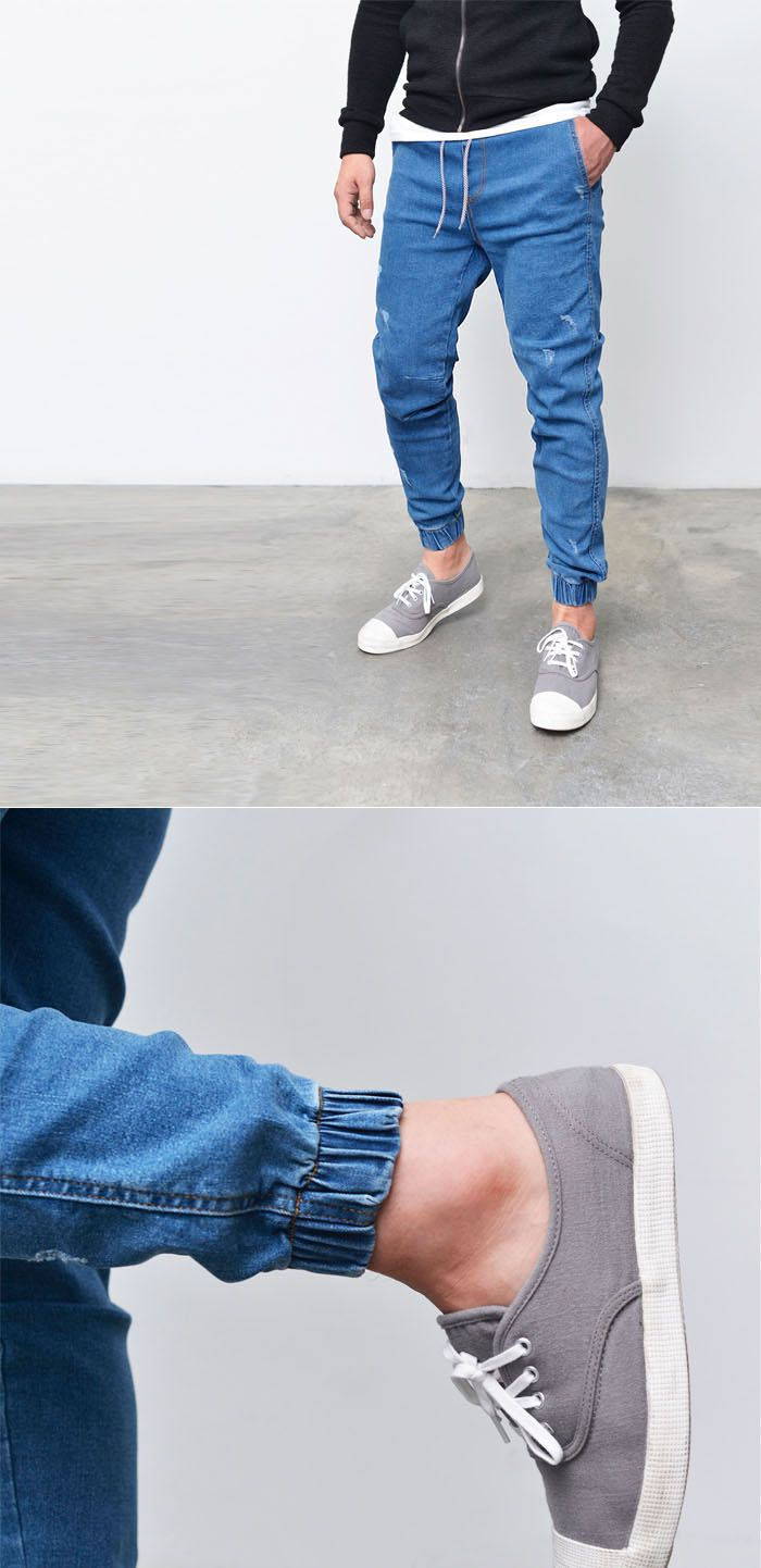 Bottoms :: Sweatpants :: Denim Semi Baggy Cuffed Jogger-Jeans 243 - Mens Fashion Clothing For An Attractive Guy Look