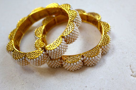 Rajasthani pearl bangles by MireveDesigns on Etsy