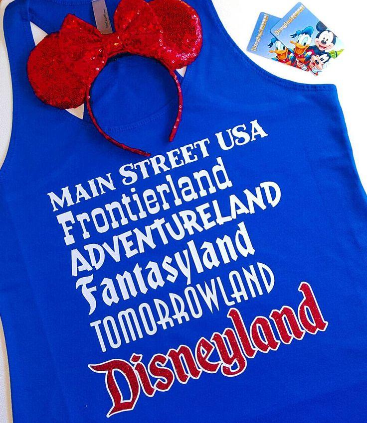 "Disneyland Lands Tank!  Main Street USA, Frontierland, Adventureland, Fantasyland, Tomorrowland, Disneyland!!  Great for Disney Vacation!   (@deepintheheartofdisneytees) on Instagram: ""Take me to Disneyland!!! ❤🏰❤ ❤ • • Ears by @shopjuicybows • • #Disneyland #Disney #MainStreetUSA…"""