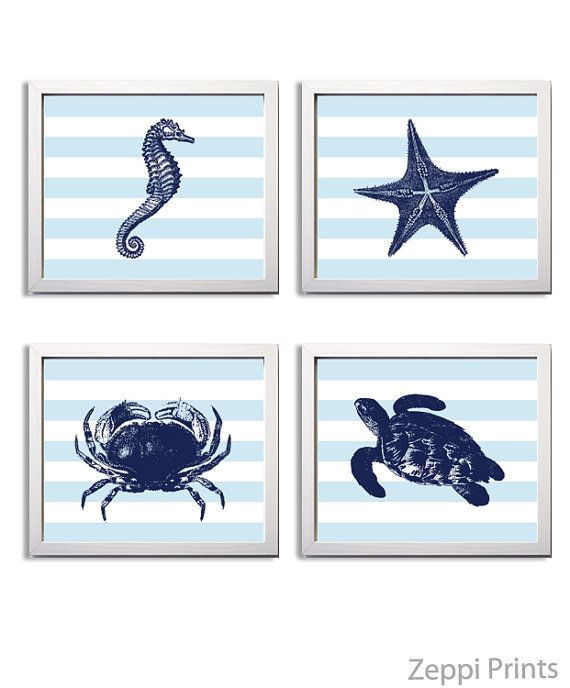 Nautical Nursery Art Navy Boy Nursery Ocean Wall by ZeppiPrints