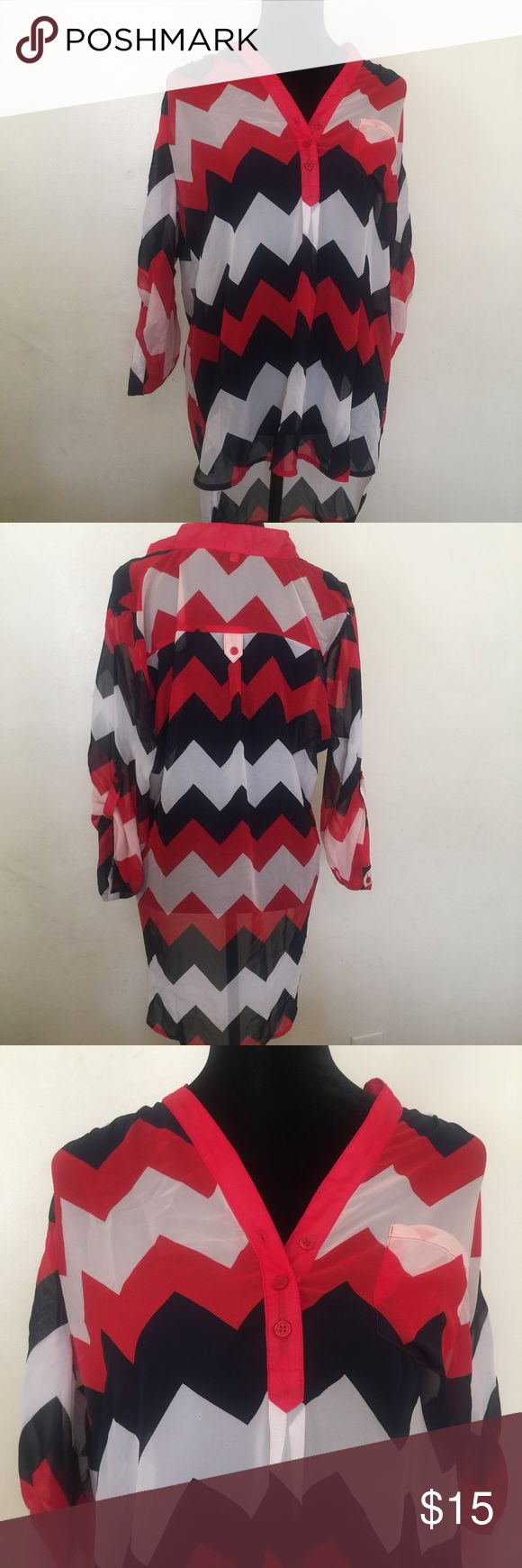 Hi-lo Chevron Blouse Beautiful Navy, Red and White top. Sz XL Tops Blouses