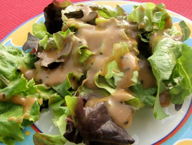 Creamy Oriental Salad Dressing Sam Choy from Food.com:   								This salad dressing comes from Sam Choy, one of my favorite Hawaiian chefs along with Alan Wong and Roy Yamaguchi.  The dressing is good just as it is, but you can also use this dressing as a jumping off place for improvising such as addition of garlic, hot pepper, etc.  Ono good!