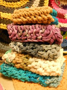 mini blankets for newborn photography props, crocheted from upcycled T-shirts.