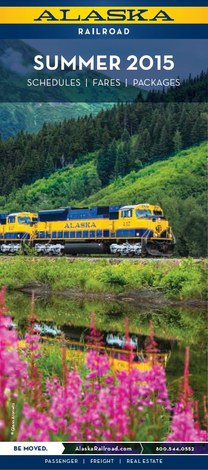 Free Brochure for the Alaska Railroad! Schedules, fares, day trips and vacation packages for summer 2015.