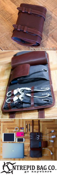 The Intrepid Tech Roll. An innovative cord and gear organization system that stores everything and leaves it instantly accessible. When you are done just tuck-and-roll! www.IntrepidBags.com