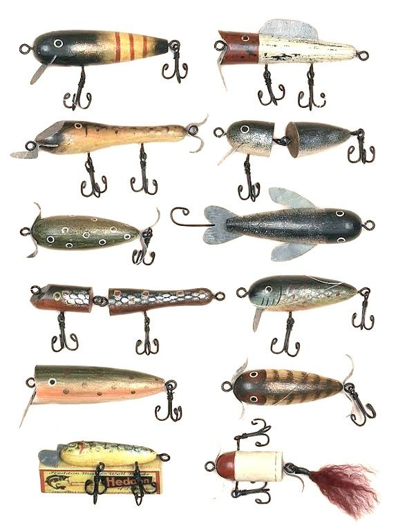The Three Wooden Fishing Lure Ornaments Set will look great on your rustic themed Christmas tree!