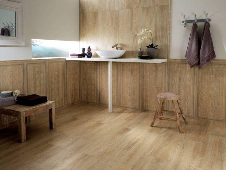 carrelage sol salle de bain effet bois, lambris mural en bois massif ...