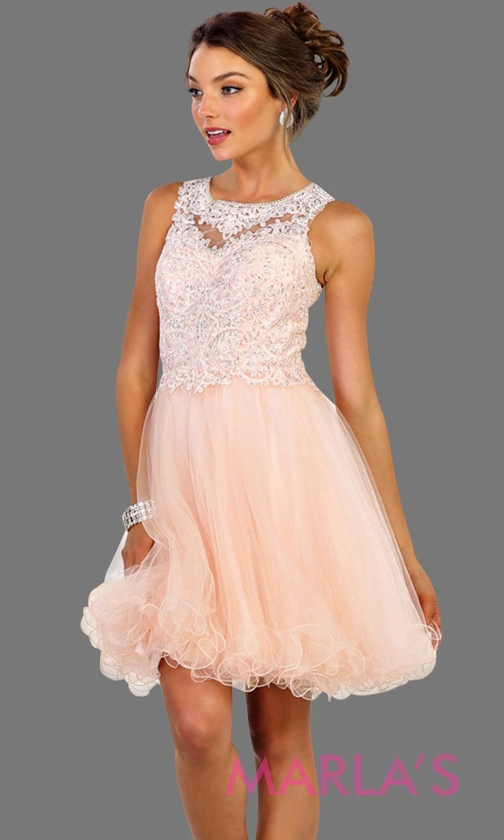 Short high neck puffy champagne dress with lace top. Perfect for grade 8 grad, g…