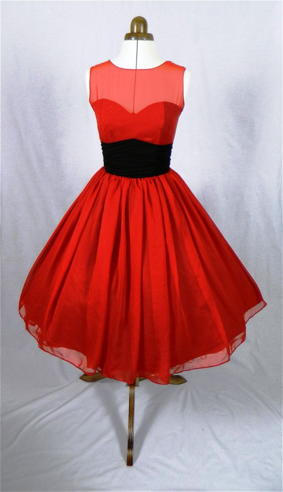 A 50s inspired ruby red chiffon rock ability by elegance50s