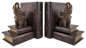 Leather Books and Lucky Elephant Bookends traditional-bookends