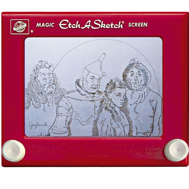 Wizard of Oz - Jeff's amazing etch-a-sketch art..yea that is exactly what I did not do on mine... I think I had about three of these at different times..I spent hours trying to draw something besides strait line figures...writing my name didnt work so well either when I got to the C...I eventually gave up...until I had kids and it started all over again...believe this..regular people cannot draw the cast of WIZ OF OZ....ever